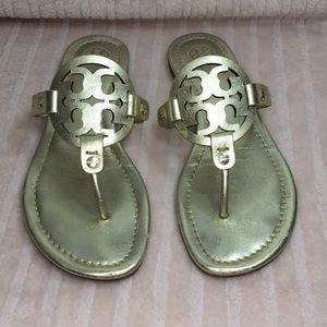 Tory Burch miller sandals thong size 7.5 gold